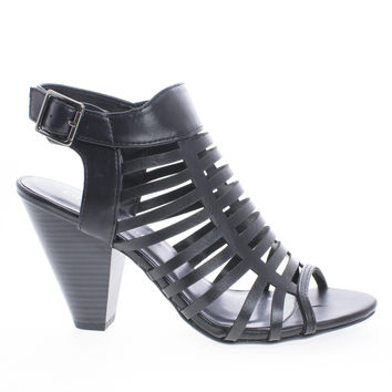 Russell Black Pu By City Classified, Gladiator Strappy Open Toe Sling Back Stacked Heel Sandals