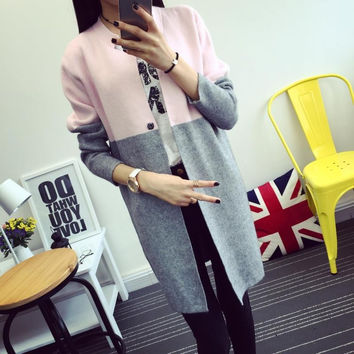 Thickening New 2017 spring Autumn winter  Fashion female Korean women jacket sweaters coat color in female long sweater cardigan
