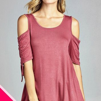 Ladies fashion plus size cold shoulder w/seeve bow tie round neck rayon spandex top