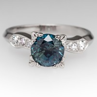 Blue Green Ceylon No Heat Sapphire Vintage Diamond Ring