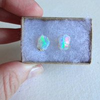 Large Rough Opal and Titanium Post Earrings