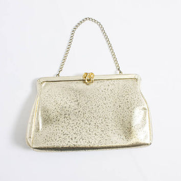 Vintage 1960s Purse - Gold Leather Metallic Metal Frame Chain Cocktail Clutch Bag