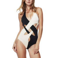 The new one - piece swimsuit black and white bikini swimsuit lady