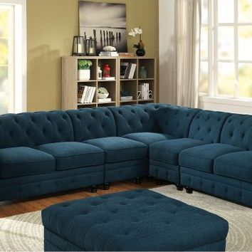 5 pc Stanford II collection contemporary style dark teal fabric upholstery sectional sofa