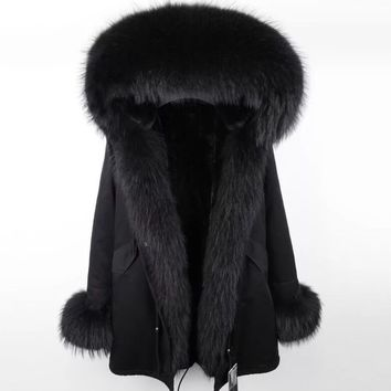 Unbelievable fox fur parka black womens overcoat