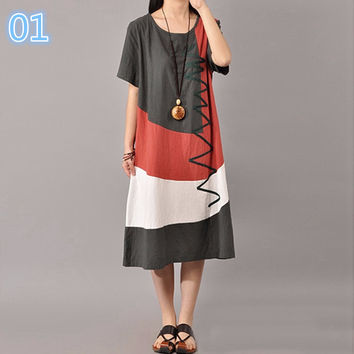 Women Vintage Print Dress 2017 Ladies O Neck Short Sleeve Splice Casual Loose Dress Mid-Calf Length Vestidos Plus Size-0331
