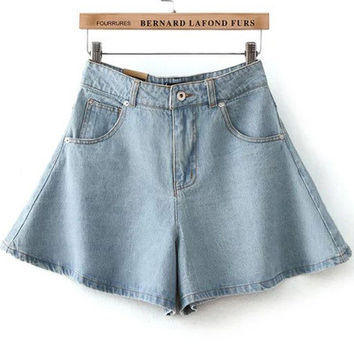 Blue High Waist Ruffled Denim Skirt Shorts