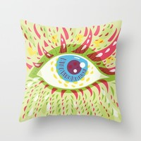 Front Looking Psychedelic Eye Throw Pillow by Boriana Giormova