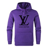 LV Louis Vuitton New fashion letter print couple hooded long sleeve sweater Purple