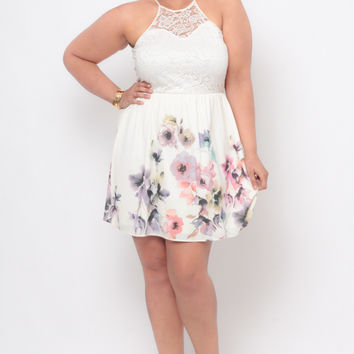 Plus Size Crochet Halter Dress - Ivory