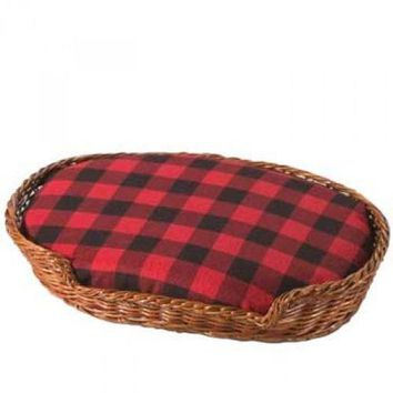 Sandicast Original Size Accessory Realistic Wicker Basket Dog Bed for Dog or Cat Figurines