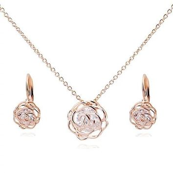 Rose Is A Rose Pendant And Chain 18kt Rose With 2ct CZ Bonus Free Earrings and Ring In White Yellow And Rose Gold Field