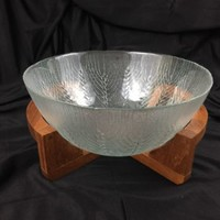 Arcoroc Country Wheat Crystal Serving Bowl With Dolphin Teakwood Stand Vintage