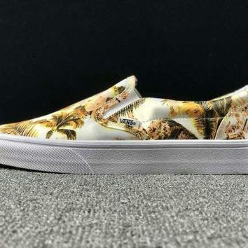 CREYNW6 Summer Newest Vans Floral Pattern Slip on Yellow Sneaker Casual Shoes