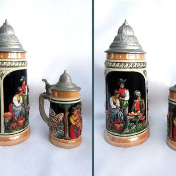 2 Vintage German Beer Steins, Pewter Lidded, German Stein, German Decor, Home Decor, Housewares, Bar Decor, Bar, Mug, Beer Mug, Germany