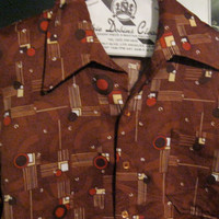 70s Hipster Disco Men Shirt / Large / by Belair of California / Cool Deco Style