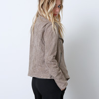 Suede With Love Moto Jacket - Beige