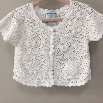 Vintage Baby Sweater, Infant Toddler White Cardigan Sweater, Open Weave Spring Sweater Cropped Sleeves Sweater Baby Girls Vintage Cardigan 2