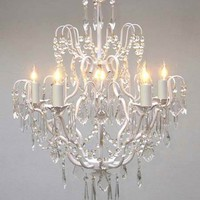 "GO-A7-WHITE/C/3033/5 White Wrought Iron Crystal Chandelier Chandeliers Lighting H27"" x W21"""