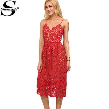 Sheinside Ladies Hollow Out Fit & Flare Lace Cami Dress Plain Spaghetti Strap Sleeveless V Neck Midi A Line Dress