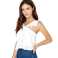 Fashion Frills Sleeveless Backless Strap Chiffon Short Section Tops