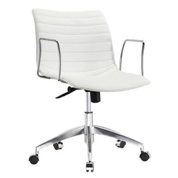 White Faux Leather Modern Mid-Century Office Chair with Curved Mid-Back Seat and Arms