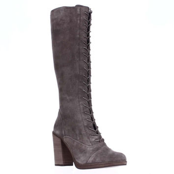 Steve Madden Nidea Knee-High Lace-up Boots, Taupe Suede, 10 US