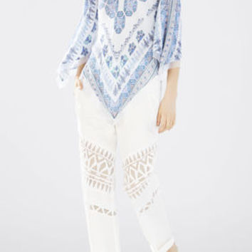 White BCBG Women's Elyza Print-Blocked Scarf Top