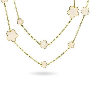 Clover Flower Long Gold Plated Crystal Accent Wrap Layer Necklace