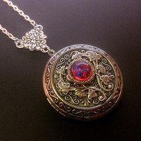 Large Dragons Breath Locket Necklace - Fire Opal - Photo Keepsake Jewelry - Custom Length Chain
