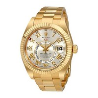 Rolex Sky Dweller Silver Dial  Yellow Gold Oyster Mens Watch 326938SRO