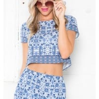 Outside The Box Two Piece Set in Blue Print