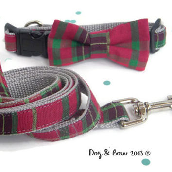 Christmas Dog Collar With Removable Bow Tie and Matching Leash