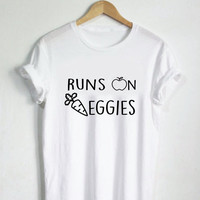 Runs on Veggies Shirt - Vegan Shirt, Vegan T Shirt, Unisex Womans Mens Top, Vegetables, Veggie Shirt, Runs On Veggies Shirt, Vegan T-shirt