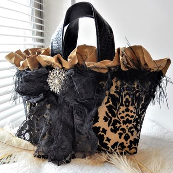 Artisan Crafted One of a Kind Black & Gold Silk Velvet Lace Leather Victorian Style Handbag