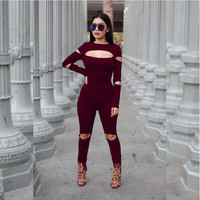 Rompers Women Jumpsuit Plus Size Solid Black Bodysuits Long Sleeve Skinny Bodycon Zipper Jumpsuits