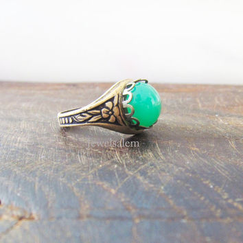 Green Opal Ring Mint Green Ring Made of Glass Gold Antique Brass with Carved Floral Design Jewelry Gift Ring for Sister BFF Friendship