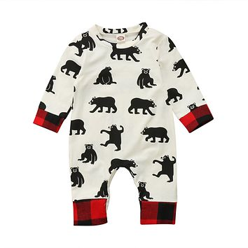 Newborn Kid Baby Boy Girl Bear Clothes Jumpsuit Patchwork Romper Playsuit Outfits  Baby Clothing