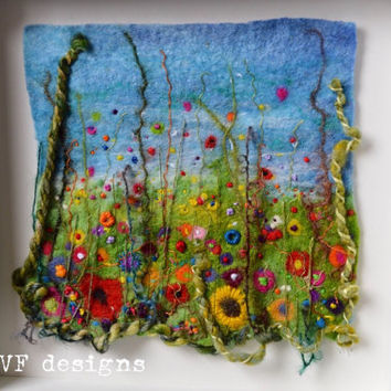 Handmade colourful wet felt and textural embroidery original framed flowers meadow picture. Raised 3d texture, vibrant and unique