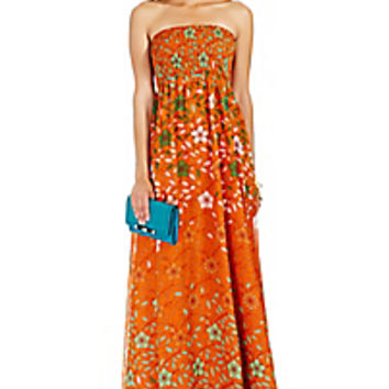 DVF Hannah Strapless Chiffon Maxi Dress