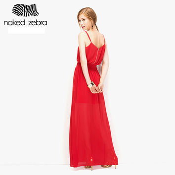 NAKED ZEBRA 2016 Summer Women Elegant Dress Sleeveless Spaghetti Strap Long Dresses Wedding Holiday Beach All Match Ladies Dress