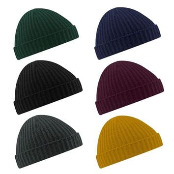 New Winter Soft Beanie Hat Warm Ribbed Winter Turn Up Retro Hat Unisex Running Caps for Ski Fisherman Docker EA14