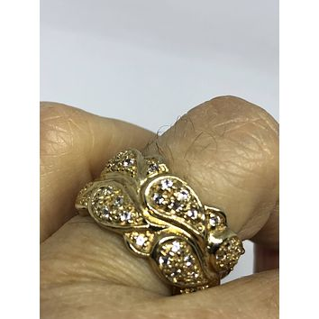 Vintage Handmade Golden 925 Sterling Silver White  Sapphire Gothic Eternity Wedding Band Ring