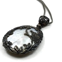 Vintage Sterling Silver Encased Mother of Pearl Pendant Necklace, Reversible Necklace Adorned with Silver Flowers, Silver Enclosed MOP