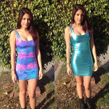 Reversible Holographic Bodycon Dress