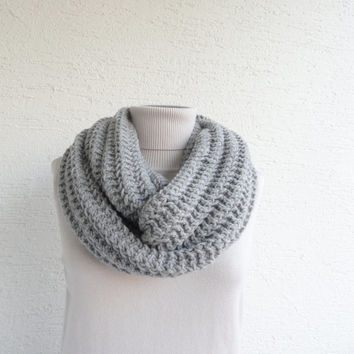 Knit Infinity Scarf Oversized Chunky Thick Knit Scarf Unisex Silver Grey