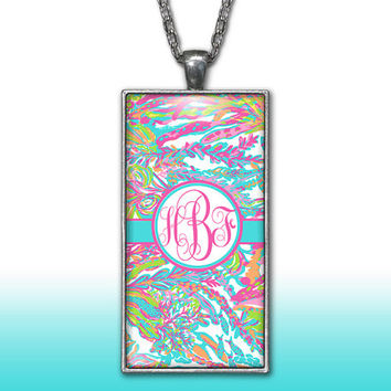 Hot Pink Aqua Monogram Pendant Charm Necklace Seaweed Ocean Personalized Custom Initial Necklace Monogram Jewelry