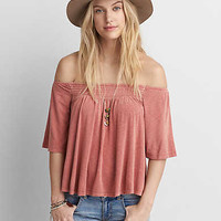AEO Soft & Sexy Off-The-Shoulder Shirt , Berry