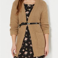 Camel Ribbed Knit Cardigan