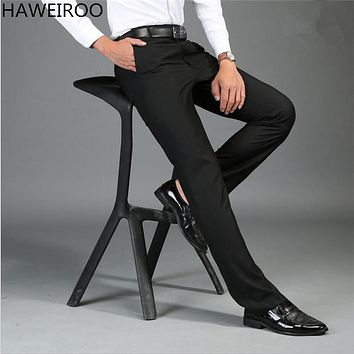HAWEIROO Size 30-44 Wrinkle Free Wedding Black Mens Formal Pants Office Workwear Casual Men Suit pant Slim Business Long Trouser